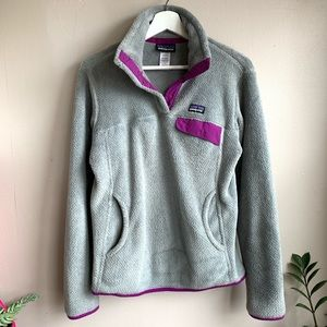 Patagonia gray/purple dimpled fleece pull over EUC